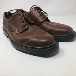 Mephisto Brown Leather Plain Toe Derby Oxfords